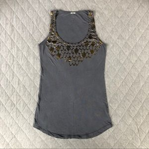 📦 3/$15  Monrow Gray with Gold Foil Tank